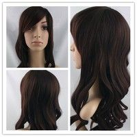 Fashion Long Wavy Brown wig synthetic hair (Color: Brown)