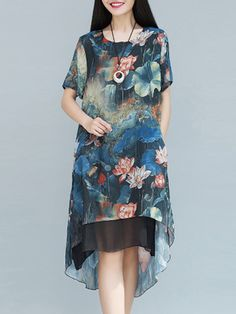 round  neck round neck floral printed date going out outdoor party street midi shift shirt Floral Printed Dip Hem Extraordinary Round Neck Shift-dress