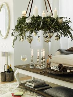 Evergreen & candle chandelier  | Daily Dream Decor