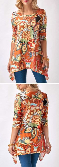 Sharkbite Hem Round Neck Printed Orange Blouse - #blouse