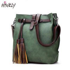 New Women PU Leather Handbags for Woman Black Bucket Vintage Shoulder Bags