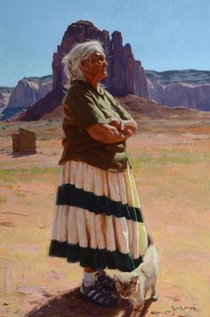 """Rose Cly"" 2012, Scott Burdick  ""This is one of the Navajo people I painting from a trip I took out to Monument Valley last summer. I love the people on the Navajo reservation there. A kind Navajo husband and wife took me around to meet and paint some of their older relatives, most of whom spoke only Navajo. In doing these paintings, I wanted to capture the moment as it is now, with the combination of old and new together."""