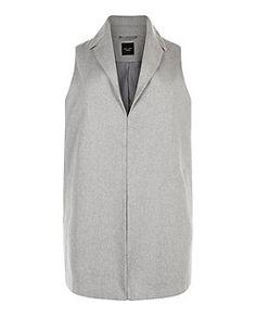Plus Size Grey Longline Sleeveless Jacket | New Look