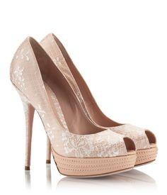 Sebastian Nude leather and white lace stiletto heel platform peep-toe pumps