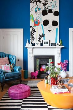 Captivating Eclectic Colourful Blue Living Room Fireplace Fulton Home Feb15 Colorful  Interiors, Colorful Rooms, Boho