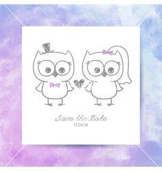 Wedding owls vector bride and groom by redcollegiya on VectorStock®