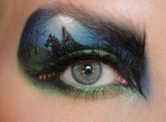 …To this scene, inspired by The Lord of the Rings. | This Makeup Artist Paints Incredibly Intricate Scenes On Her Eyelids
