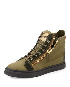 N30WH Giuseppe Zanotti Men's Canvas High-Top Sneaker, Olive