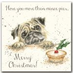 Artistic Christmas Card Love You More Than Mince Pies - Pug - Wrendale Designs - Foil Finish Pug Christmas, Christmas Card Crafts, Funny Christmas Cards, Christmas Pictures, Christmas Greetings, Xmas, Christmas Things, Wrendale Designs, Watercolor Christmas Cards