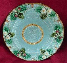 Sarreguemines majolica 8' turquoise strawberry plate ~ c.1890 ~ French
