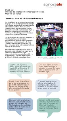 Modelo tarea 1 oral DELE B2 Spanish Class, Reading Comprehension, Spain, Classroom, Teaching, Writing, Blog, Life, Pictures