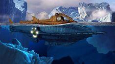 20000 LEAGUES UNDER THE SEA fantasy sci-fi adventure action classic steampunk ship boat submarine g Under The Sea Background, Steampunk, Leagues Under The Sea, Disney, Jules Verne, Nautilus Submarine, League, Jules, Science Fiction