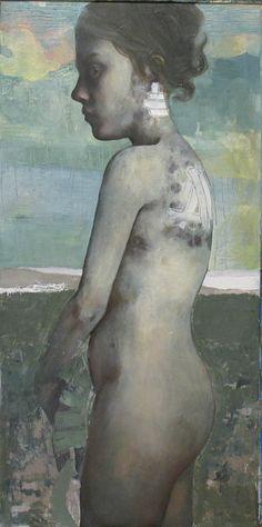 """Contemporary figure painting """"Evado"""" by Caitlin Karolczak - proportion abstraction"""