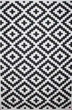 Outdoor Black and White Nirvana Plastic Straw Rug Black White Pattern, White Patterns, Beautiful Patterns, Black And White, Outdoor Area Rugs, Indoor Outdoor, Outdoor Spaces, Southwest Rugs, 4x6 Rugs
