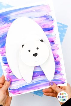 A fun and engaging printable Winter craft for kids! With his wobbly head band bouncy body, children will love creating this playful polar bear #kids #kidscrafts #printables #templates #teacher