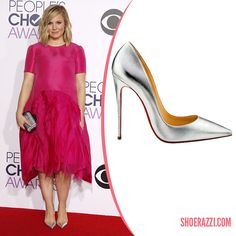 Kristen Bell in Christian Louboutin So Kate Silver Leather Pointed-Toe Pumps - ShoeRazzi
