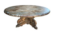 Wooden pedestal dining table inspired by Italian Mediterranean Decor, has some distressed finish in gray and soft blues. Can be made in any finish as all our furniture is hand made by Peruvian Artisans. Tuscan Furniture, Rustic Furniture, Furniture Decor, Hand Painted Furniture, Handmade Furniture, Unique Furniture, Tuscan Style Homes, Tuscan House, Pedestal Dining Table