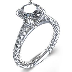 zoara 1-1/4 ctw Rope Design Diamond Engagement Ring in 14k White Gold