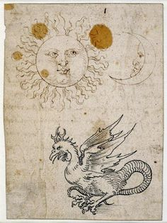 Albrecht Düre, Sun, Moon, and a Basilisk, c. 1512, pen and ink on paper.  British Museum, London
