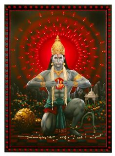Hanuman opening his chest to show Sita and Rama in his heart.