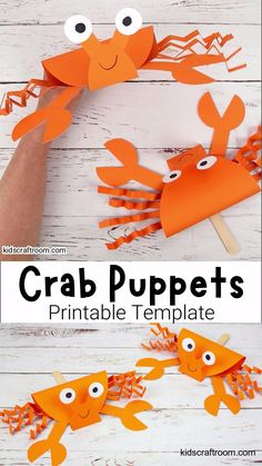 This Crab Puppet Craft is so fun for kids. Download the printable crab craft template and get making yours today. Such a fun ocean craft for kids this Summer! #kidscraftroom #crabs #crabcrafts #summercrafts #kidscrafts #kidsactivities #oceancrafts #puppets #puppetcrafts #beachcrafts