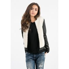 Sans Souci Vegan leather and wool contrast jacket ($49) ❤ liked on Polyvore featuring outerwear, jackets, synthetic leather jacket, sans souci, zip up jacket, vegan leather jacket and white wool jacket