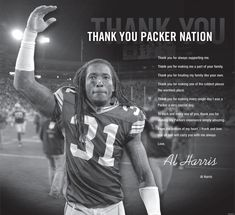 "In case you missed it in Sunday's Journal Sentinel, here's Al Harris' classy ""Thank You"" note to Packer fans. (click on headline to see note)"