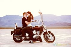 motorcycle engagement portraits? my god that is adorable.