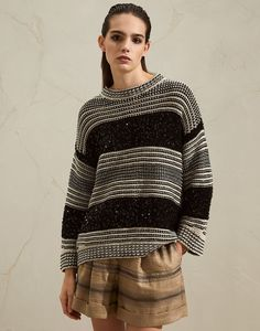 Dazzling sweater (211MBA380600) for Woman | Brunello Cucinelli Sweater Knitting Patterns, Knit Fashion, Cotton Sweater, Knit Sweaters, Unique Outfits, Brunello Cucinelli, Summer Tops, Slow Fashion, Pulls