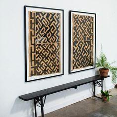 JuJu Hat, Tonga basket, Kuba cloth pillows and African Wall Baskets. African Interior, African Home Decor, Diy Wall Art, Wall Decor, African House, Global Decor, Framed Fabric, Fabric Art, Global Design