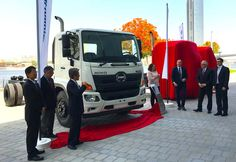 Members of the Hino and Al-Futtaim Motors teams attend the launch of the latest Hino 500 Series medium-duty truck.