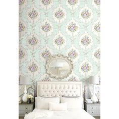 Seabrook Wallpaper - Garden Rose - All Wallcoverings - Floral design wallcovering in a bedroom photo Bedroom Photos, Designer Wallpaper, Wood Paneling, Floral Design, Rose, Furniture, Garden Ideas, Bedrooms, Collections