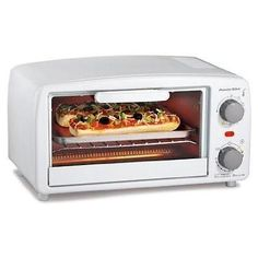 Proctor Silex 4 slice Toaster Oven, White Product Features Extra-large interior easily fits 4 slices of toast or 2 personal timer with automatic shutoff and ready bellIncludes bake pan and broil functionHandy broiler for cooking versatilityDrop-down . Best 4 Slice Toaster, Broiler Oven, White Toaster, Mini Toaster, Personal Pizza, Specialty Appliances, Small Kitchen Appliances, Cooking Utensils, Toaster Ovens