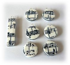 Polymer Clay Charms with stamped Ink on Clay