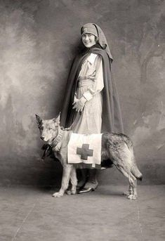 A WWI Red Cross nurse with a rescue dog. (The dog was trained to locate the wounded on the battlefield and bark to call attention to them.)