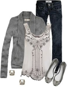 "Love that shirt!  ""Grey & Glitzy"" by qtpiekelso on Polyvore"