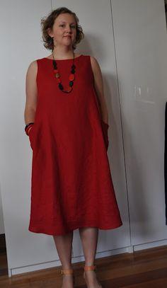 Sew Brunswick's - Sleeveless Red Lily Linen Dress