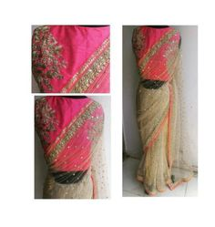 This is an elegant look designer soft net saree and it has an excellent finishing and beautiful design. the cream color saree fully designed with gold color mirror studded embroidery patches and it looks very sparkly and the mirror work top and bottom completely covers with pink and gold color combination of border and it has a thread and zari floral embroidery work is designed and the embroidery work fully shiny chamkies and stones are dotted and it looks very attractive and the border…