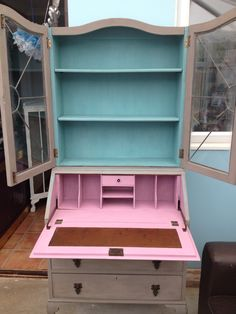 Bookcase Bureau hand painted in Annie Sloane French Linen