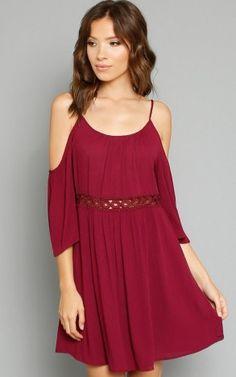 AMBIANCE Cold Shoulder Crochet Accent Dress
