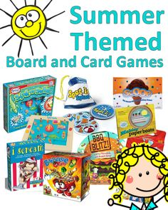 Check out summer-themed board games, card games and toys. Lots of good ideas for using them in therapeutic settings. See Games, Games For Kids, Activities For Kids, Occupational Therapy Activities, Therapy Games, Summer Games, Summer Fun, Grid Puzzles, Logic Games