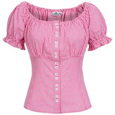 Best 12 Trachtenbluse Marie in Pink von Hess Cute Blouses, Red Blouses, Shirt Skirt, Blouse Dress, Blouse Styles, Blouse Designs, Casual Outfits, Fashion Outfits, Womens Fashion