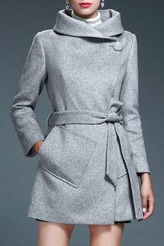 Stylish Turn-Down Neck Long Sleeves Pure Color Pocket Design Coat For Women Clothing, Shoes & Jewelry - Women - women's belts - http://amzn.to/2kwF6LI