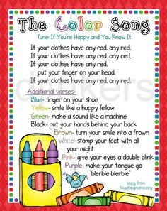 color song, learning colors, color border, cute clip art, crayon border is part of Preschool music - Kindergarten Songs, Preschool Songs, Preschool Lessons, Circle Time Ideas For Preschool, Color Songs For Toddlers, Children Songs, Toddler Circle Time, Preschool Good Morning Songs, Songs For Preschoolers