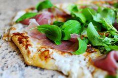 Probably my favorite pizza recipe: Fig, prosciutto, and arugula with buffalo mozzarella and parmesan.