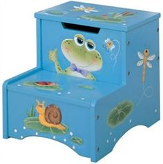 Charming Frog Storage Step Stool to aid your child in becoming more independent. e.g $45.95