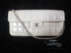 Chanel East West Chocolate Bar Pearlized White Patent Flap Bag