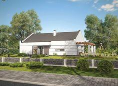 """""""Poznany"""" Murator C350 - propozycja domu o minimalistycznej i eleganckiej architekturze. Jasna elewacja bez zbędnych ozdobników, okna sięgające podłogi oraz dach bez okapów sprawiają, że całość ma bardzo nowoczesny charakter."""