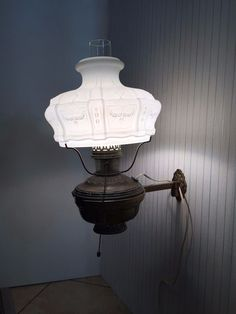 Vintage Rare White Milk Glass Hurricane Shade  / Brass Wall Sconce Lamp #Unknown #Cottage