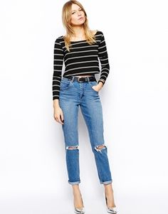 ASOS Farleigh High Waist Slim Mom Jeans in Mid Wash Blue with Busted Knees - Blue